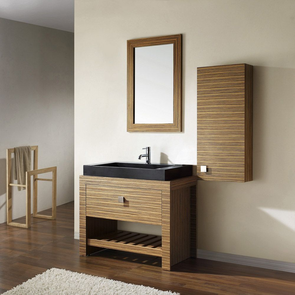 Knox Zebra Wood Veneer Vanity Set With Black Granite Vessel Sink | Zuri  Furniture