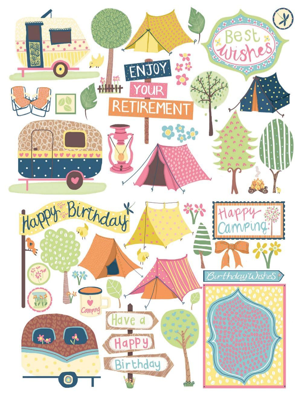 fac1c1bd4e6 These beautiful camping illustrations are ideal for card making and  scrapbooking - download them for free!