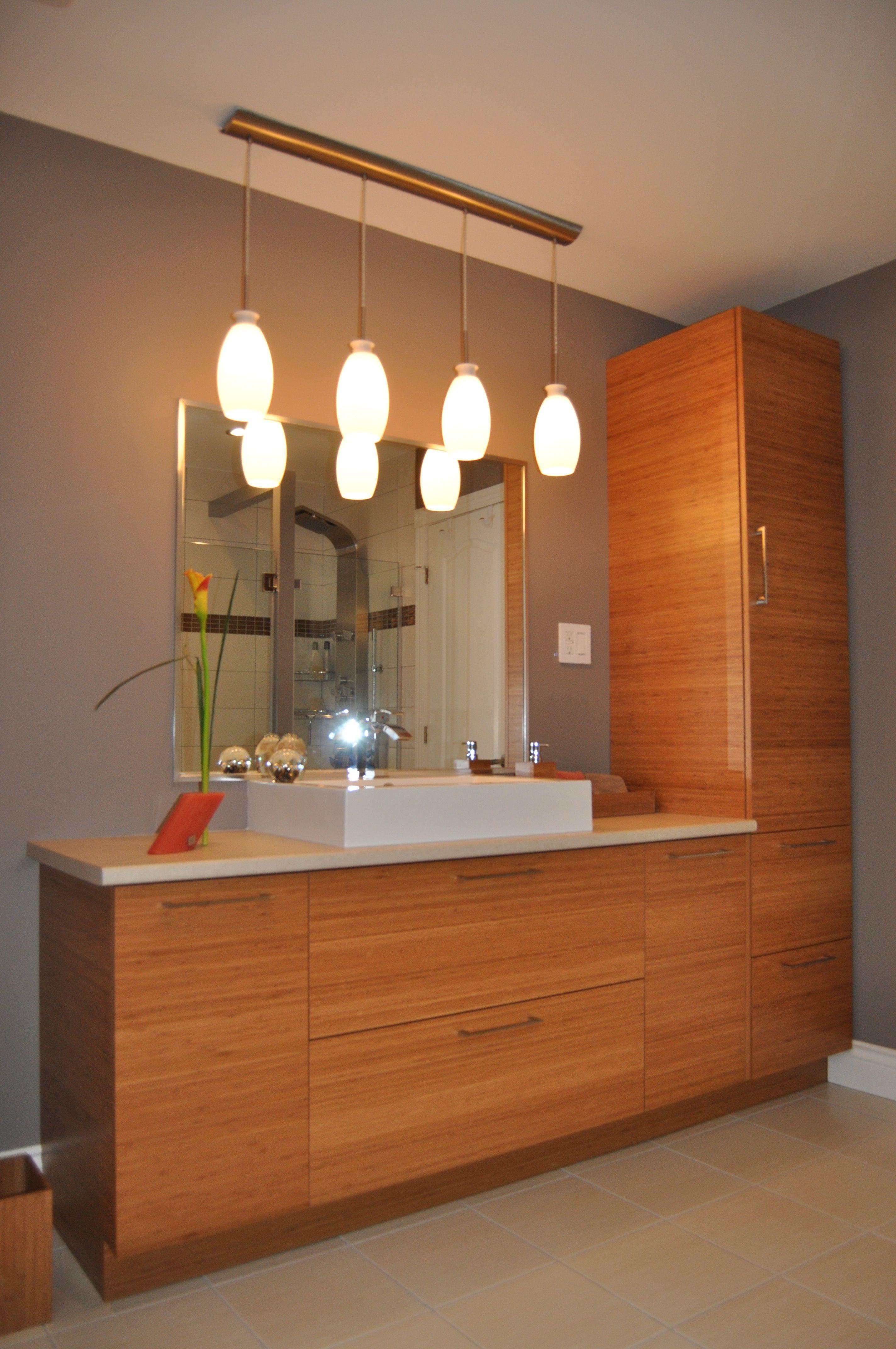 Vanit en bambou dor salle de bain bathroom washroom et bathroom cabinets - Set salle de bain bambou ...