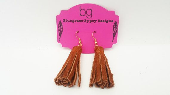 Brown Suede Leather Tassel Earrings by BluegrassGypsyDesign