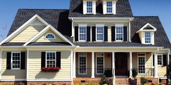 Image Result For Black Roof And Cream Colored Siding House Exterior Color Schemes House Shutters Vinyl Siding House