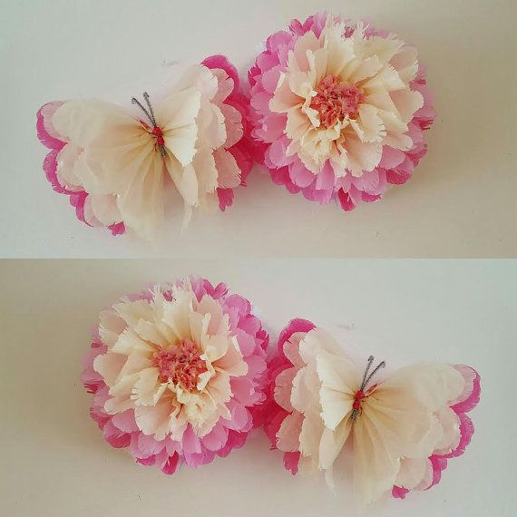 1 Wall Flower 1 Butterfly Girls Birthday Party Decorations Tissue