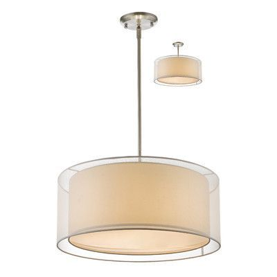 Z-Lite Sedona 3 Light Drum Pendant Shade Color: White