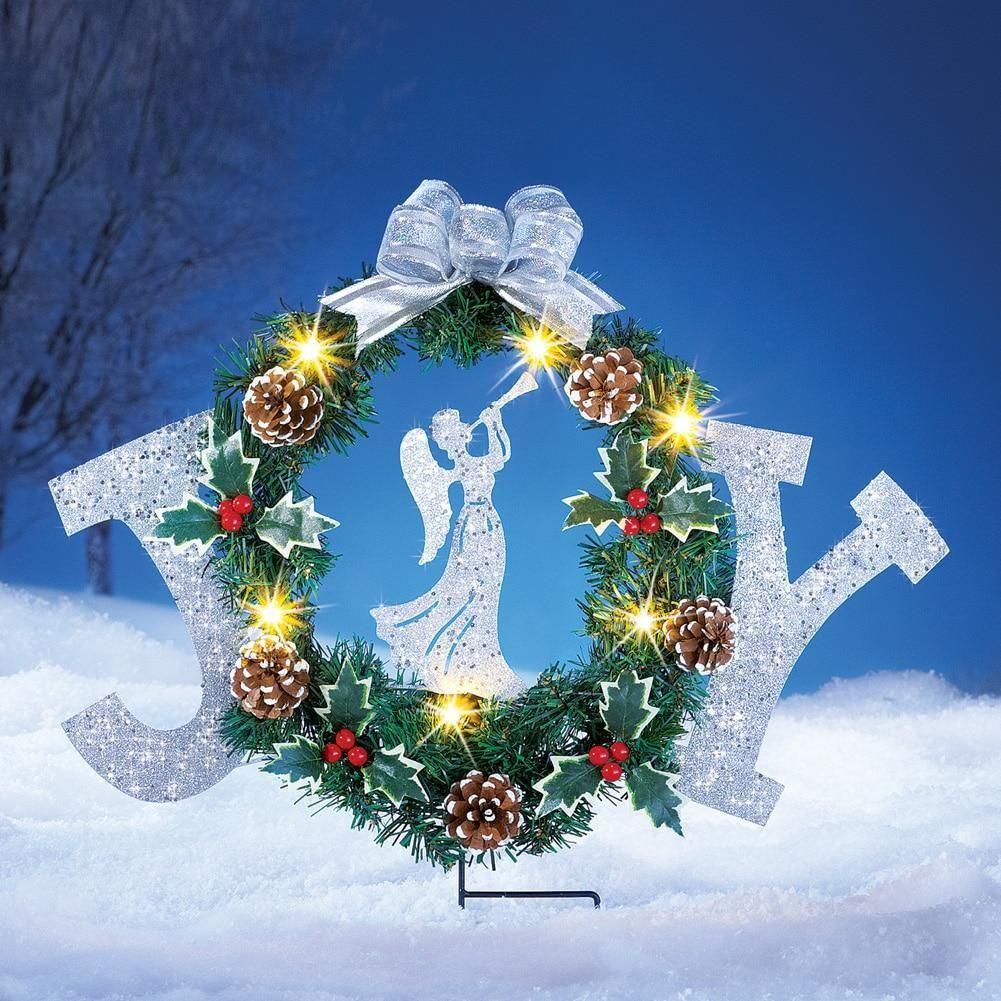 Holiday Joy Wreath Solar Lighted Garden Stake