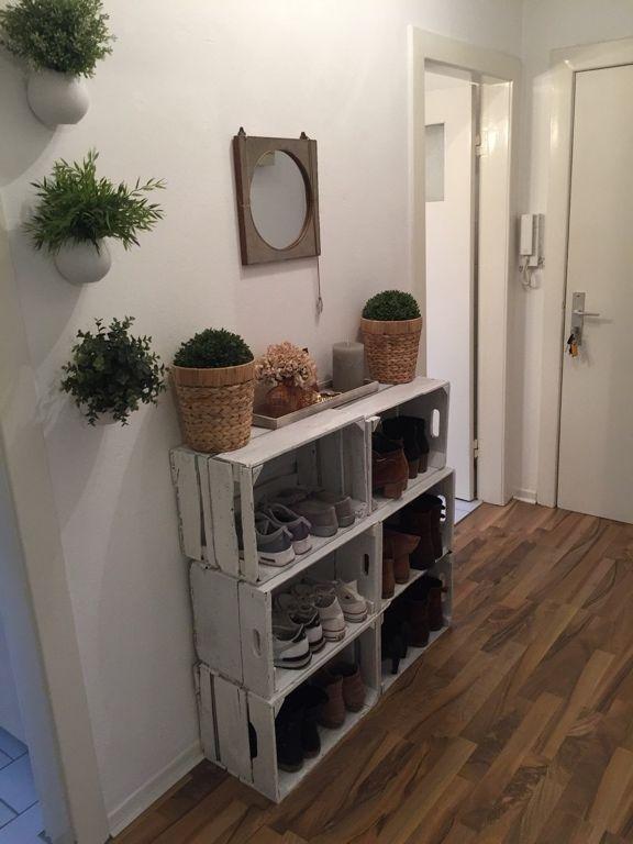 diy schuhschrank f r den flur einfach g nstig einrichtungsideen mit diy m bel pinterest. Black Bedroom Furniture Sets. Home Design Ideas