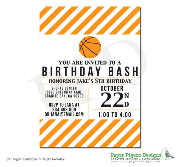 DIY Printable Basketball Birthday Invitation - Basketball Birthday Party -  by PaperPigeonDesigns