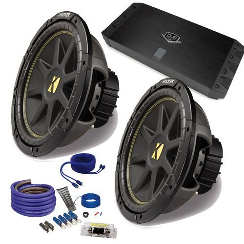 """Kicker 2 12"""""""" Comp Subwoofers and a DUBa1450 900 Watt Amp + Amp wire kit Package"""