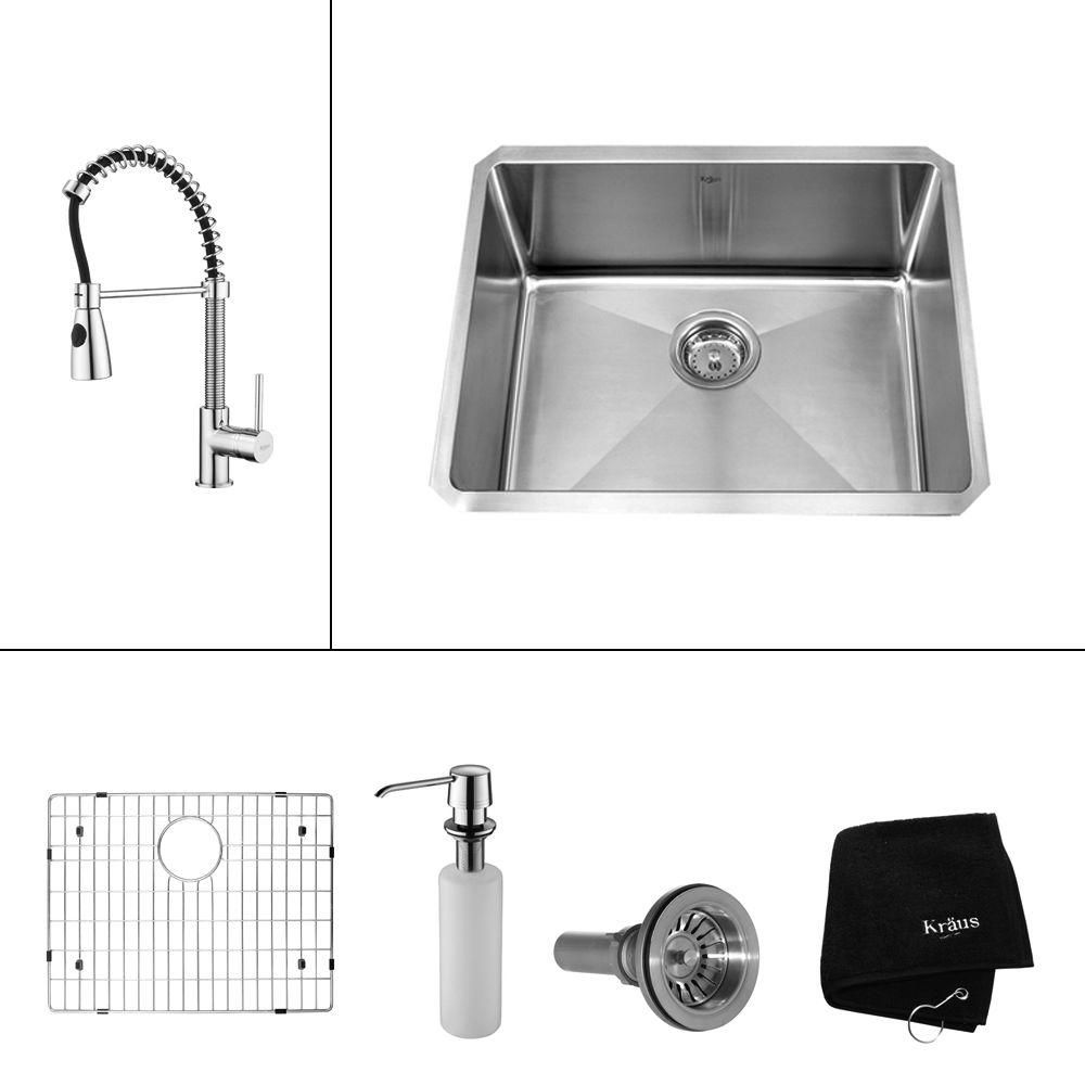 Kraus All In One Undermount Stainless Steel 23 In Single Bowl