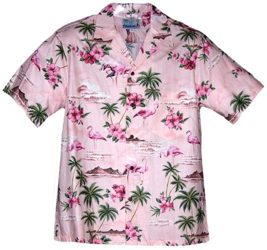 2d769287 Pink Flamingo Mens Hawaiian Aloha Shirt in Pink | FLAMINGOS AT LARGE ...
