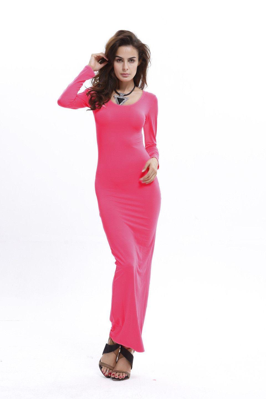 Elegant Pure Color Long Sleeve Scoop Bodycon Long Dress