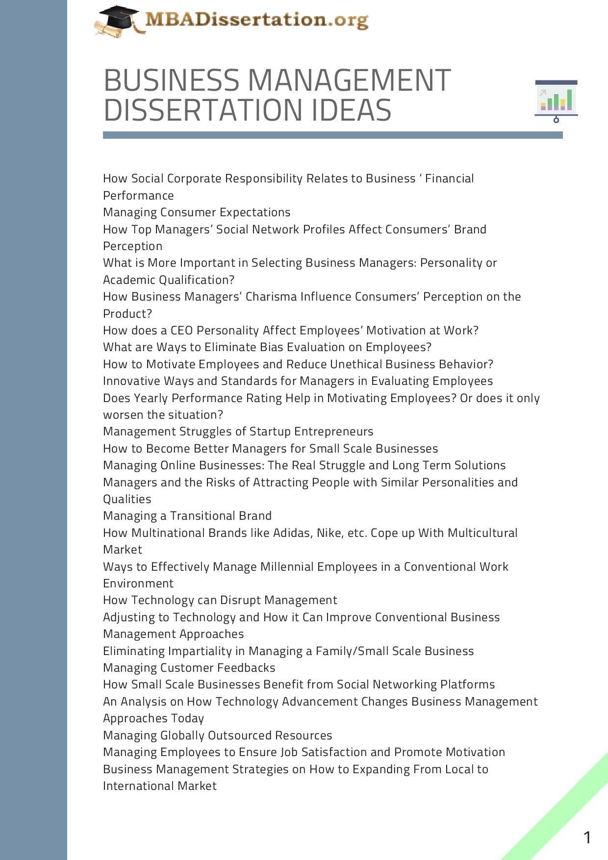Busines Management Dissertation Idea Thesi Writing Psychology Topics Topic