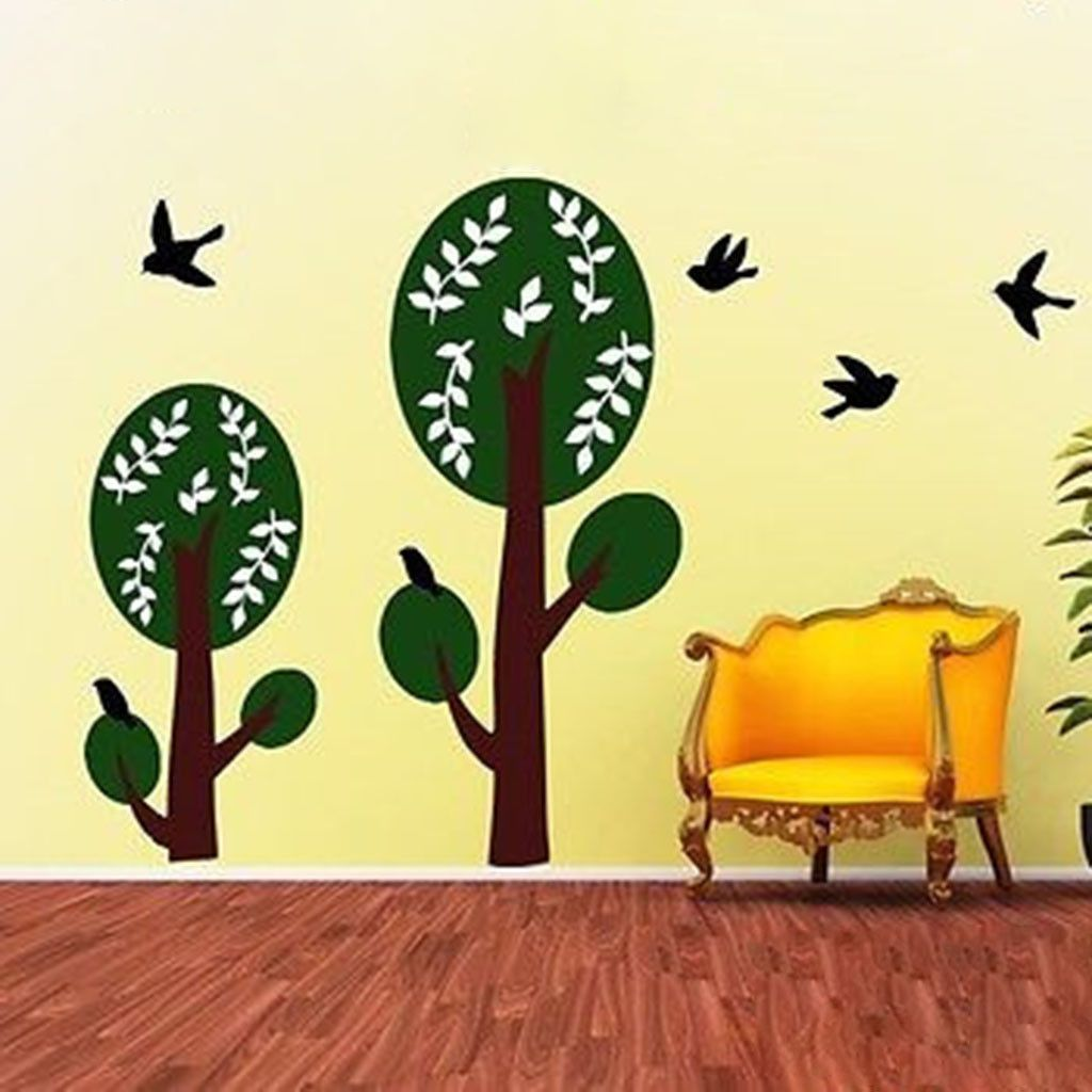 Gorgeous Double Trees With Birds Vinyl Wall Decal | Wall decals and ...