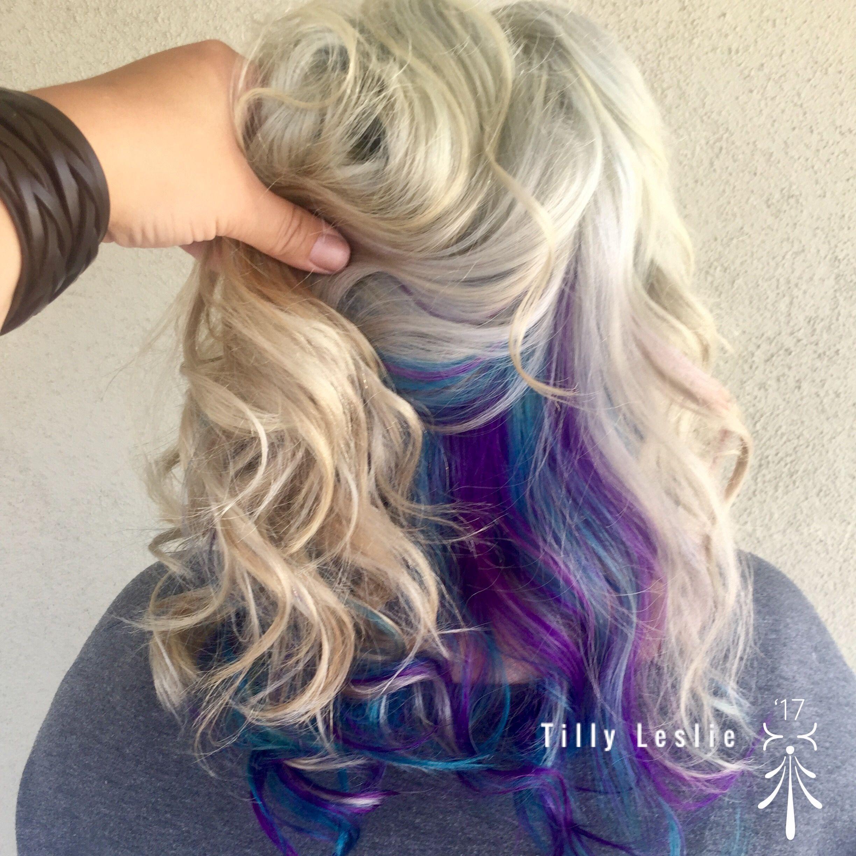 Peek A Boo Purple And Blue Teal Platinum Blonde Blonde Blueteal Boo Peek Platinum Blonde Bluet In 2020 Peekaboo Hair Purple Hair Highlights Platinum Blonde Hair