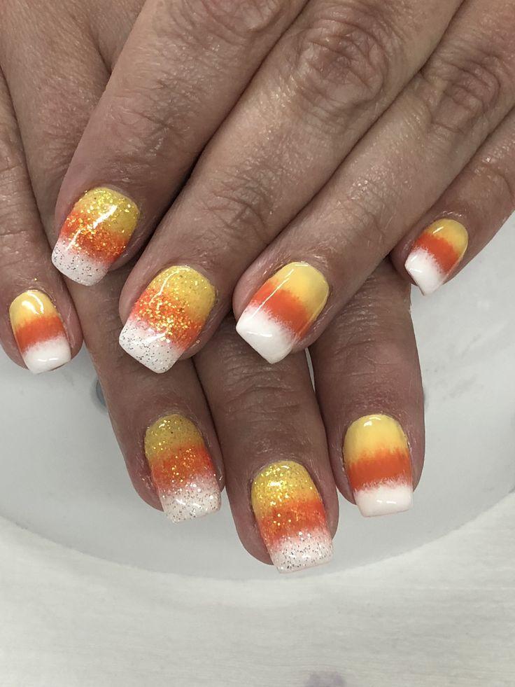 Halloween Candy Corn Ombré Glitter Gel Nails - #candy # ...