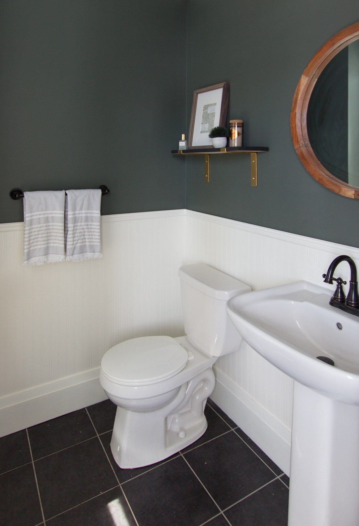 Modern Forest Green And Gold Powder Room Refresh House By The Bay Design Modern Powder Rooms Refresh House Powder Room Design