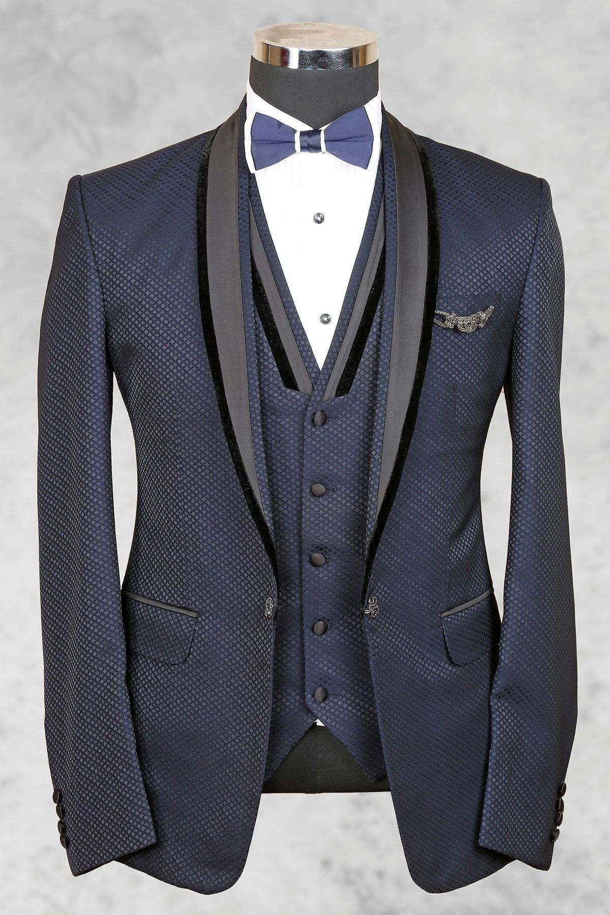 Bluish grey admirable italian suit with shawl lapel-ST455 ...