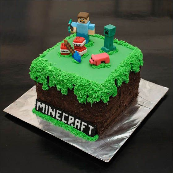 26 Playful Video Game Themed Cake Designs Minecraft Birthday