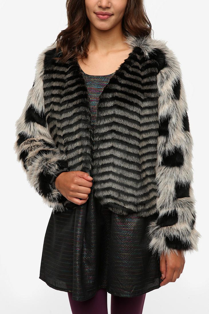 Naven Faux Fur Pattern Mix Jacket #UrbanOutfitters