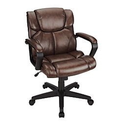 Bon Studio Briessa Mid Back Vinyl Chair Brownblack By Office Depot Officemax