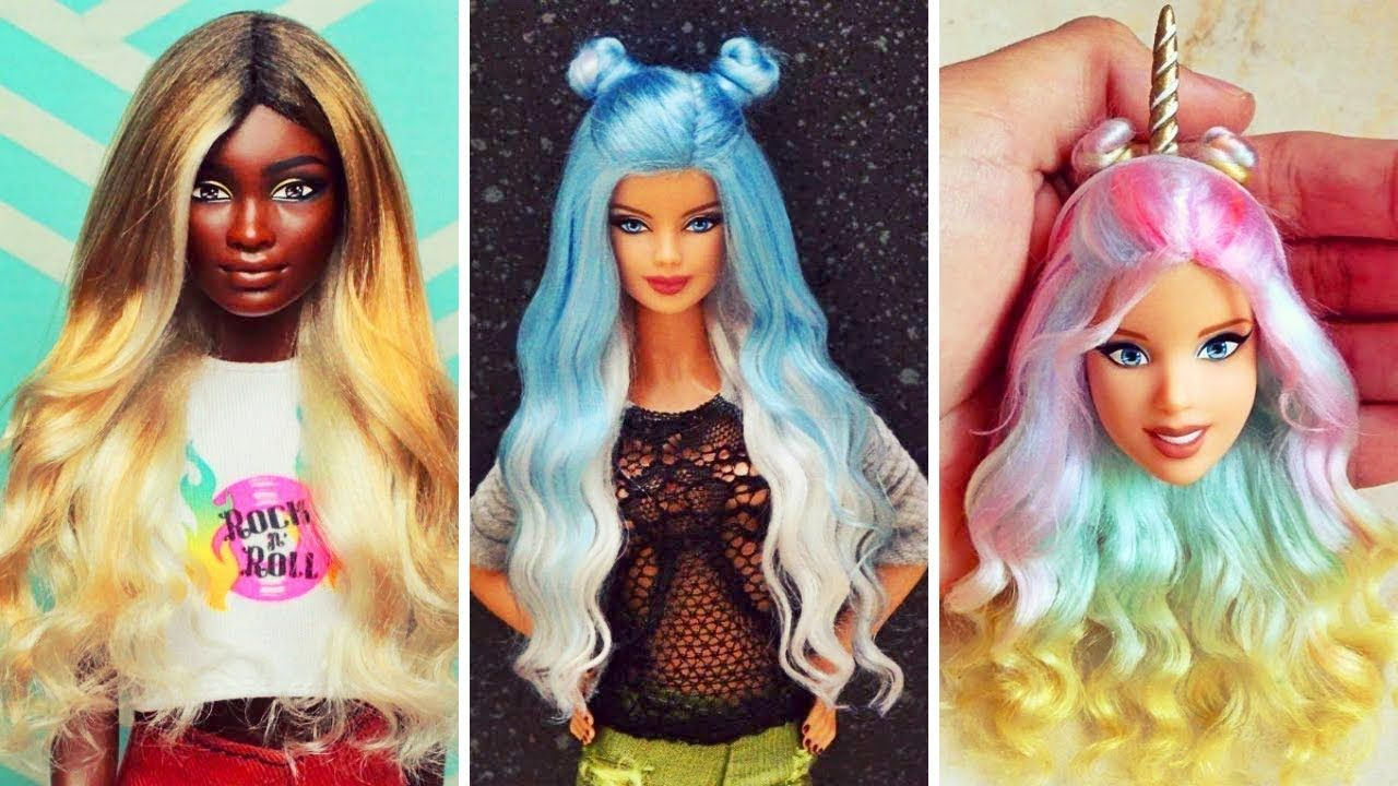 Awesome Barbie Hairstyle Tutorial Compilation 2017 Barbie Hair Color Transformation Barbie Hairstyle Barbie Hair Doll Diy Crafts