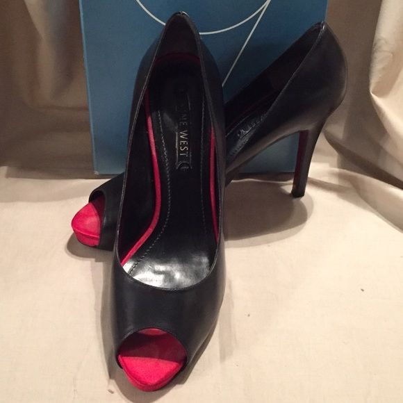 8cb896feeaa3 Nine West Black Leather Red Bottom Peep Toe Pump Nine West Black Leather Red  Bottom Peep Toe Pump.. Size 8.5   4.5 inch heel.. Shoes are in great  condition ...