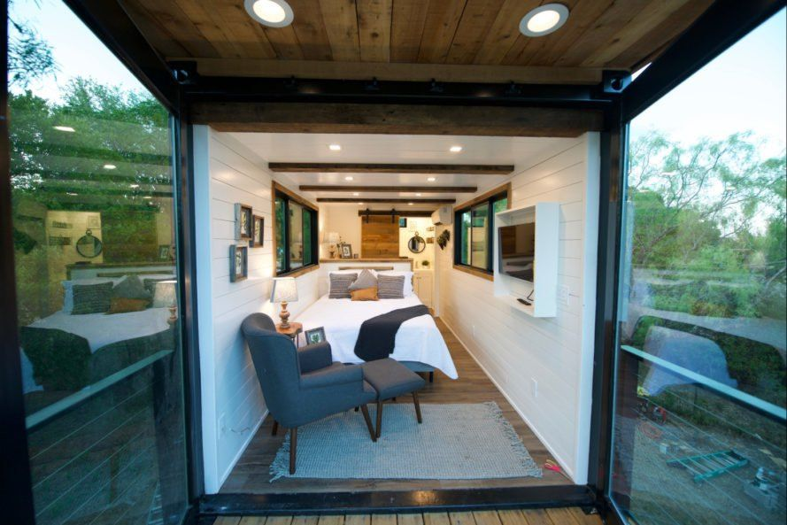 This Tiny Home With A Rooftop Deck Is Made From Two Shipping Containers Tiny House Layout Container House Design Container House
