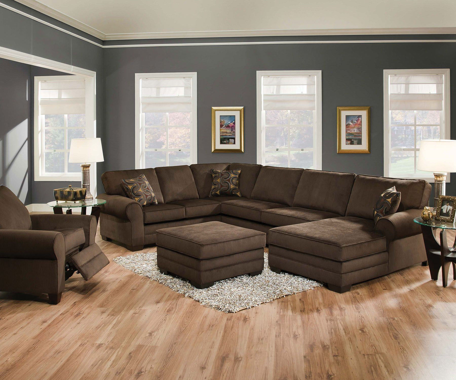 Tenner Sectional Sofa 50610 1089 Features Made In Usa Loose Seat Cushion Back Wood Frame Accent Pillows Included Dimension Section
