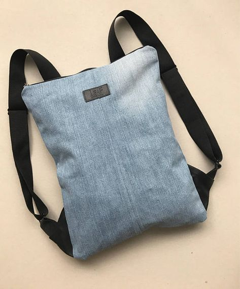 Denim backpack set, Recycled denim rucksack with purse, Jeans backpack, Denim Canvas backpack, Denim backpack purse, Laptop backpack
