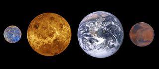 Tailles Comparees Des 4 Premieres Planetes Telluriques Mercure A Gauche Venus La Terre Et Mars Planete Tellurique Planete Mercure Systeme Solaire