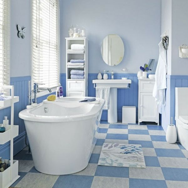Blaue Weiß Badewanne Badezimmer Fliesen Ideen