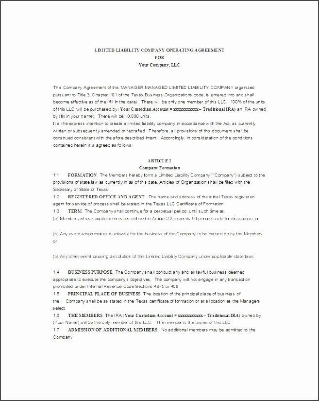 Texas Llc Operating Agreement Template Hjdnk Best Of Free Single