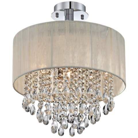 Possini Euro Jolie 15 Wide Silver And Crystal Ceiling Light 95993 Lamps Plus Diy Drum Shade Drum Shade Chandelier Diy Chandelier