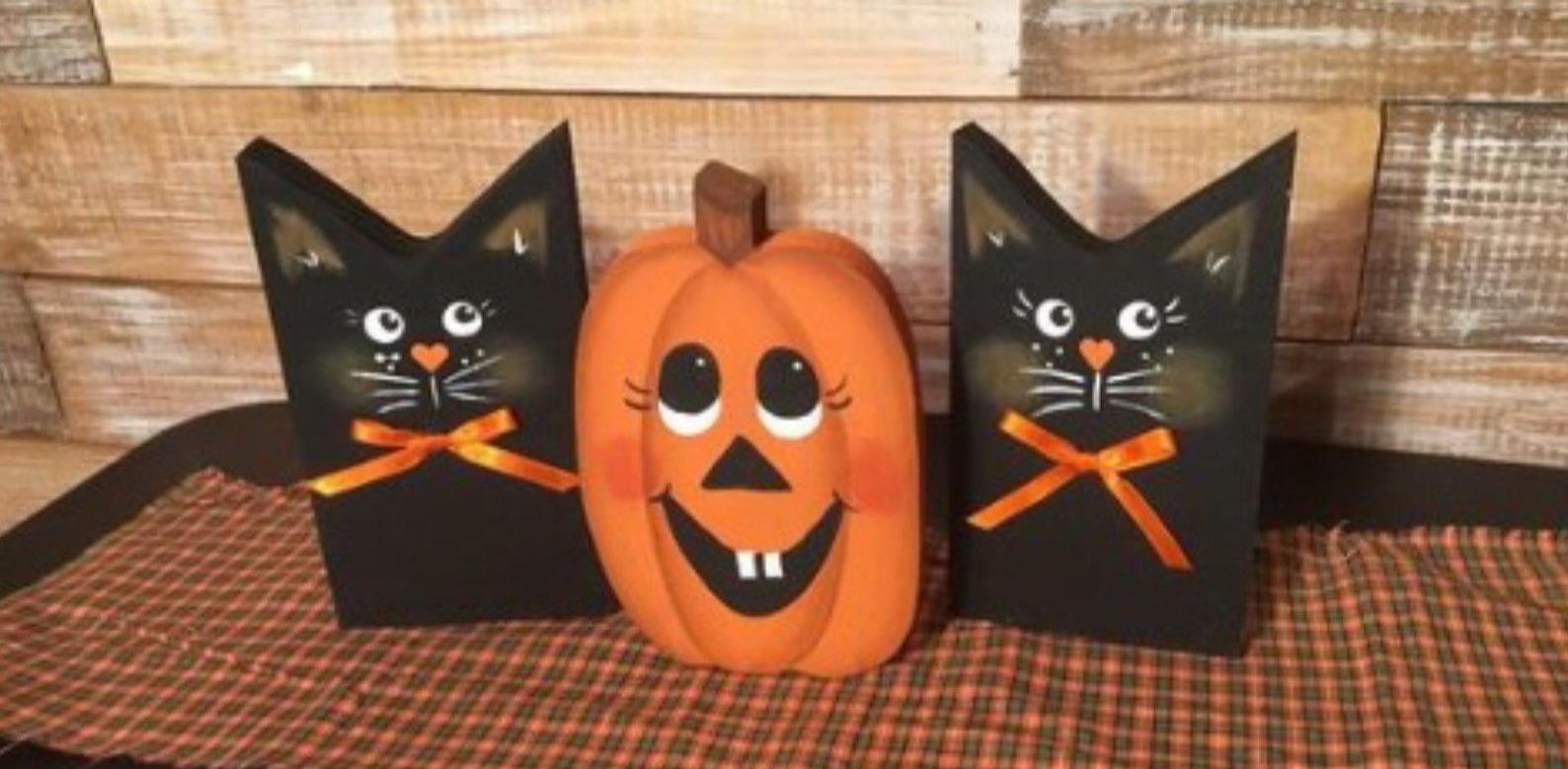 Halloween decor. Halloween cats and pumpkin. Handm