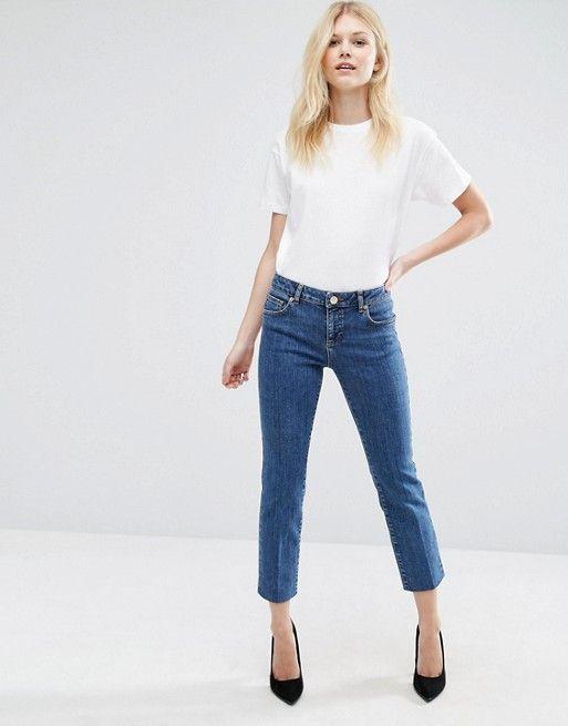ASOS Petite | ASOS Petite - Castile - Jean droit à délavage vintage foncé - Bleu