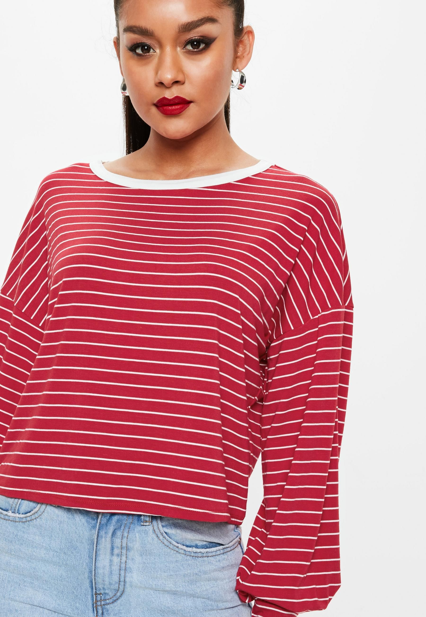 5bb6438a1249 Missguided Red Striped Drop Shoulder Boxy Top