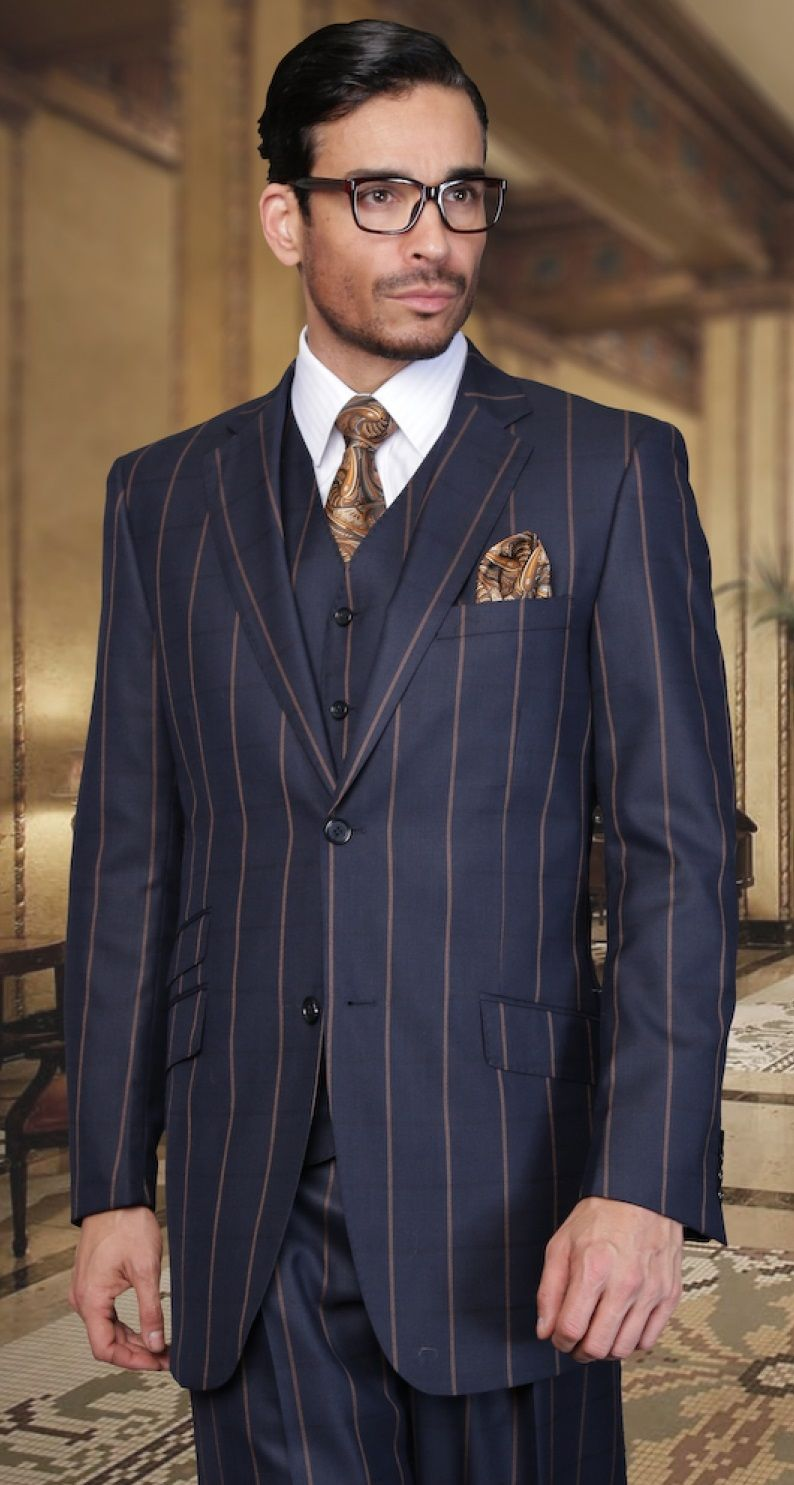 Statement Regular Fit Navy Tan Stripe 3 Piece Suit Italian Fabric ...