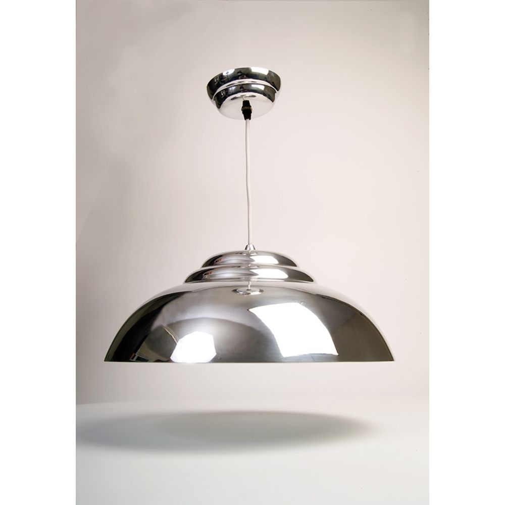 Chrome Kitchen Lighting The Bowl Polished Retro Pendant Looks Like But Is Aluminium For A Modern Effect It Could Be Admired Above Your