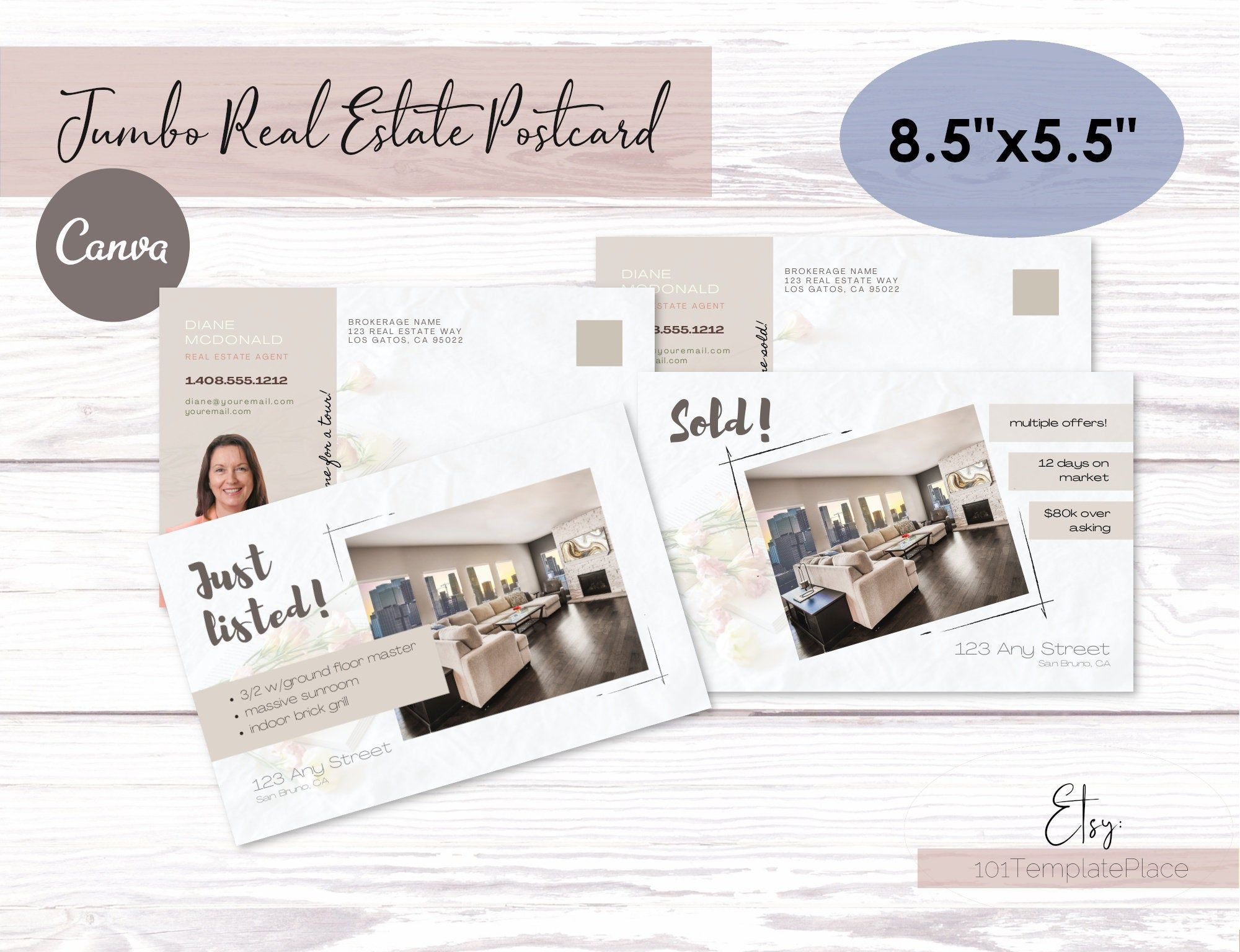 Jumbo Postcard Templates For Real Estate Agents Just Listed Etsy Real Estate Postcards Postcard Template Real Estate Logo Design