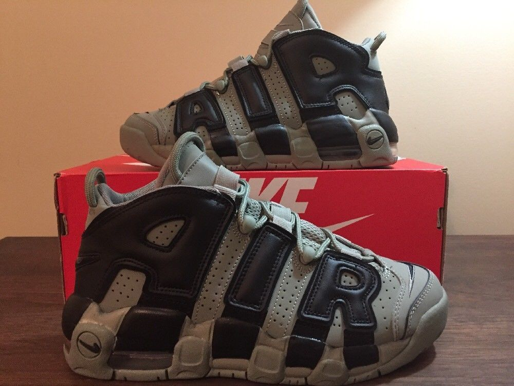 116cb4abaa NIKE AIR MORE UPTEMPO GS BASKETBALL SHOES DARK STUCCO BLACK 415082 007  #melrose #thrifting