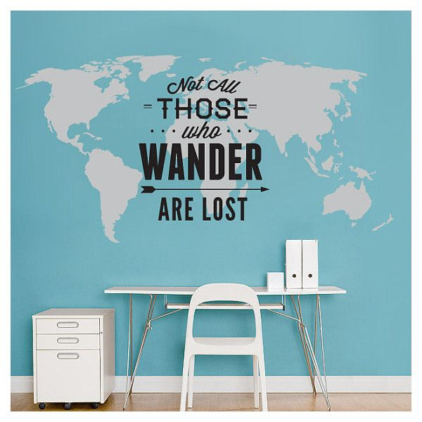 World Map Decal - Not All Those Who Wander Are Lost - Large World Map Vinyl Wall Sticker - World Map Wall Sticker & World Map Decal Not All Those Who Wander Are Lost Large World Map ...