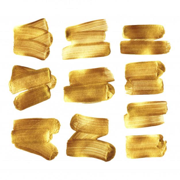 Gold Paint Brush Stroke Smear Set Isolated Brush Strokes Paint Brushes Gold Paint