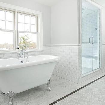 Long Bathroom With Carrera Marble Hexagon Tiles And Gray Border