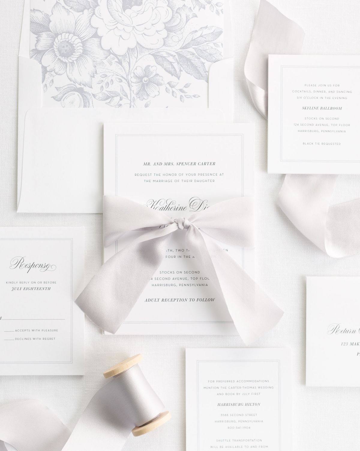 Complete Wedding Invitation Suite With Platinum Ribbon And