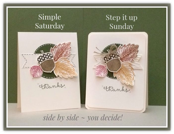Acorny Thank You & Vintage Leaves - Stampin' Up