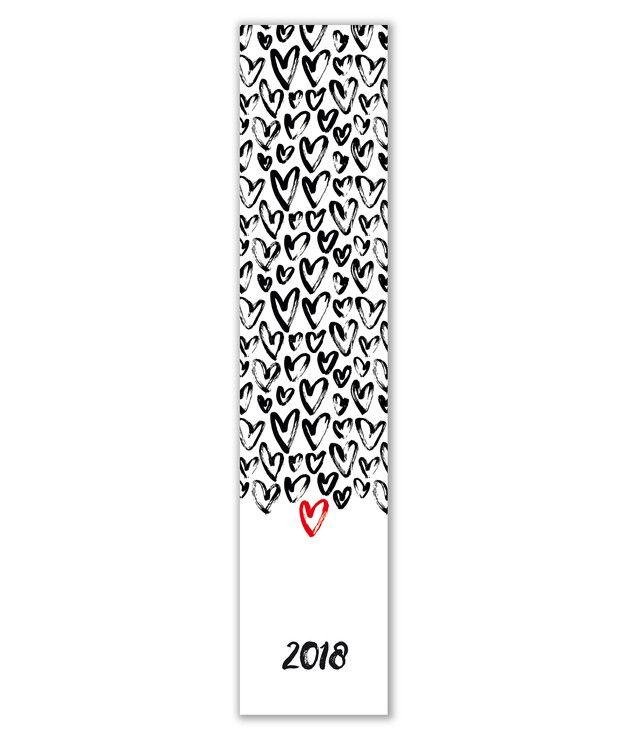"""Minikalender 2018 """"Schwarz & Rot"""" schmal"""