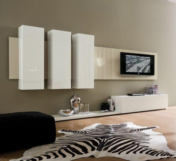 Wohnwand design weiß  Weiße grifflose Schränle-Wohnwand Design-Wohnzimmer Zebra Teppich ...