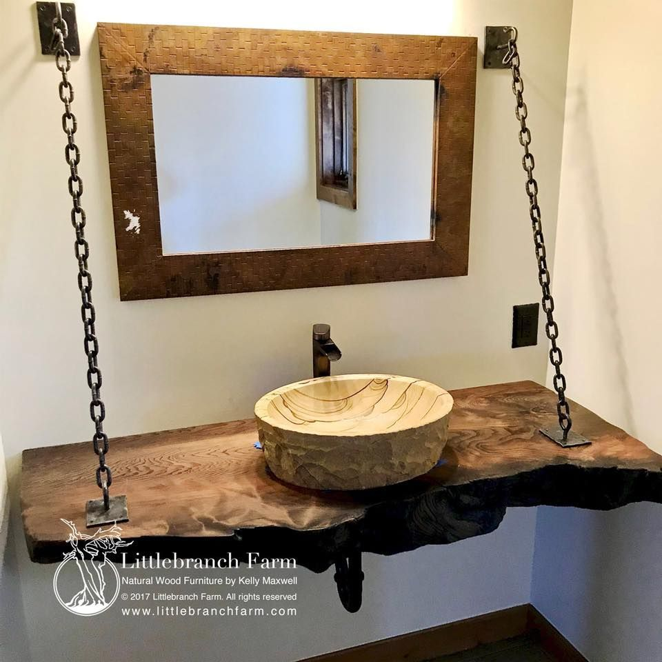 Hanging Live Edge Bathroom Vanity With Sandstone Vessel Sink