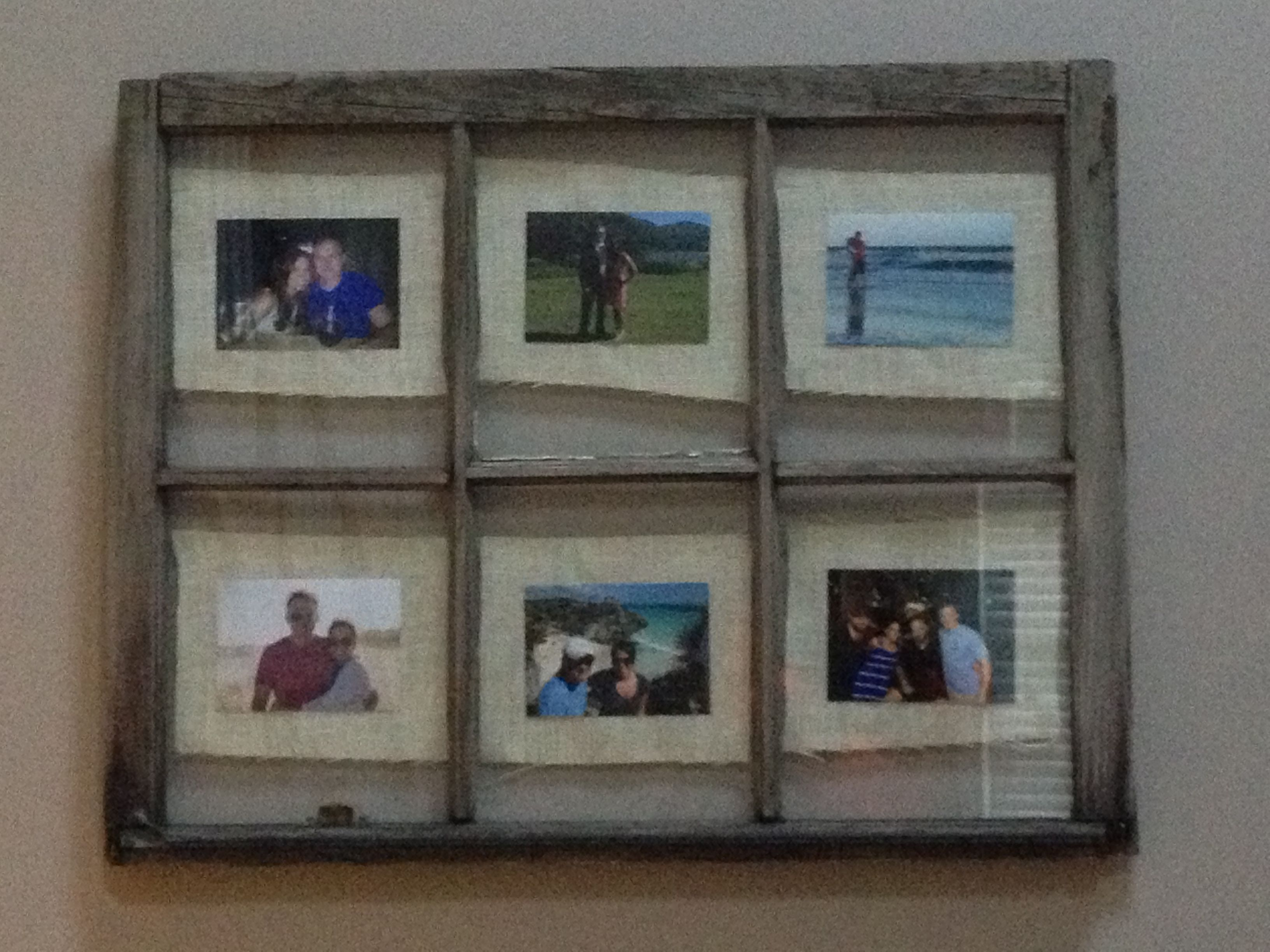 Old Window Turned Into A Picture Frame Used Ivory Burlap For
