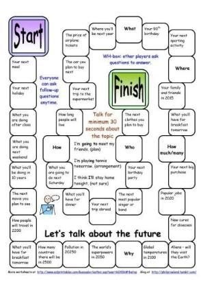 Board Game Lets Talk About The Future Worksheet Free Esl
