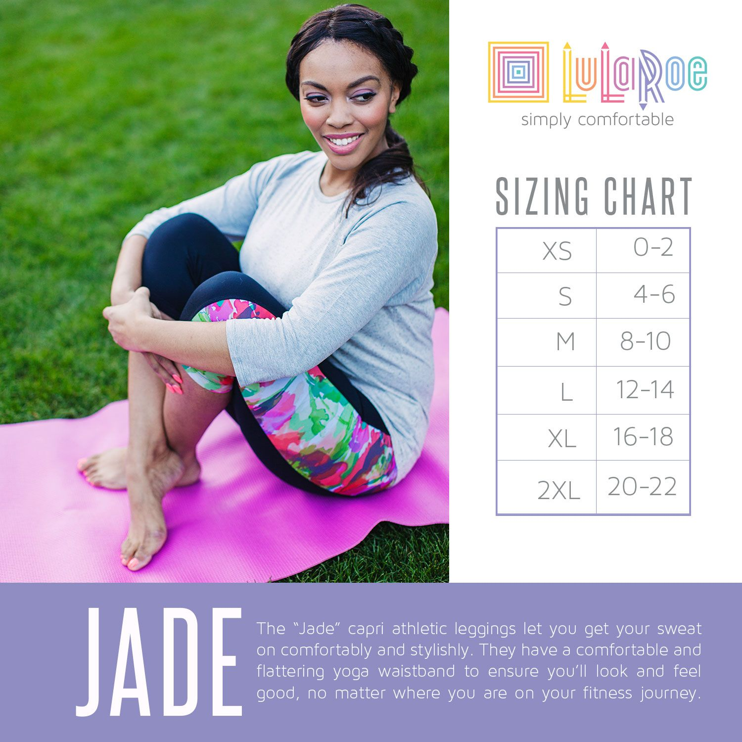 Lularoe Jade Sizing Chart Size Up One For A Looser Fit These Are Double Sched Capri Length Athletic Wear